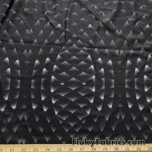 Abstract Geometry Circles on  Black Shiny Swimsuit Nylon Spandex Fabric