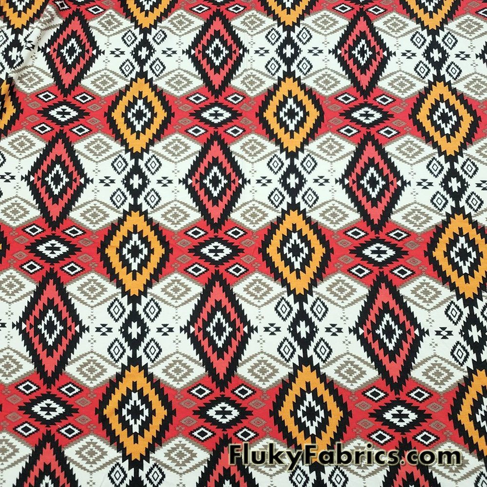 Ethnic Tribal Lightweight Rayon Spandex Jersey Fabric  Fabric