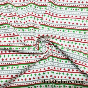 Festive Christmas Stripes with Silver Lurex Cotton Jersey Knit Fabric  Fabric