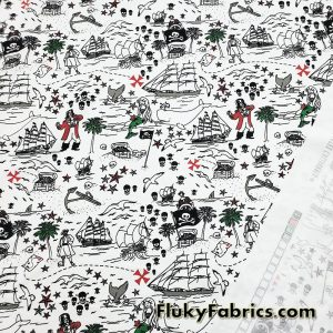 Pirates, Sirens, Whales and Ships Treasure Map Print Single Spandex Swimwear Fabric  Fabric