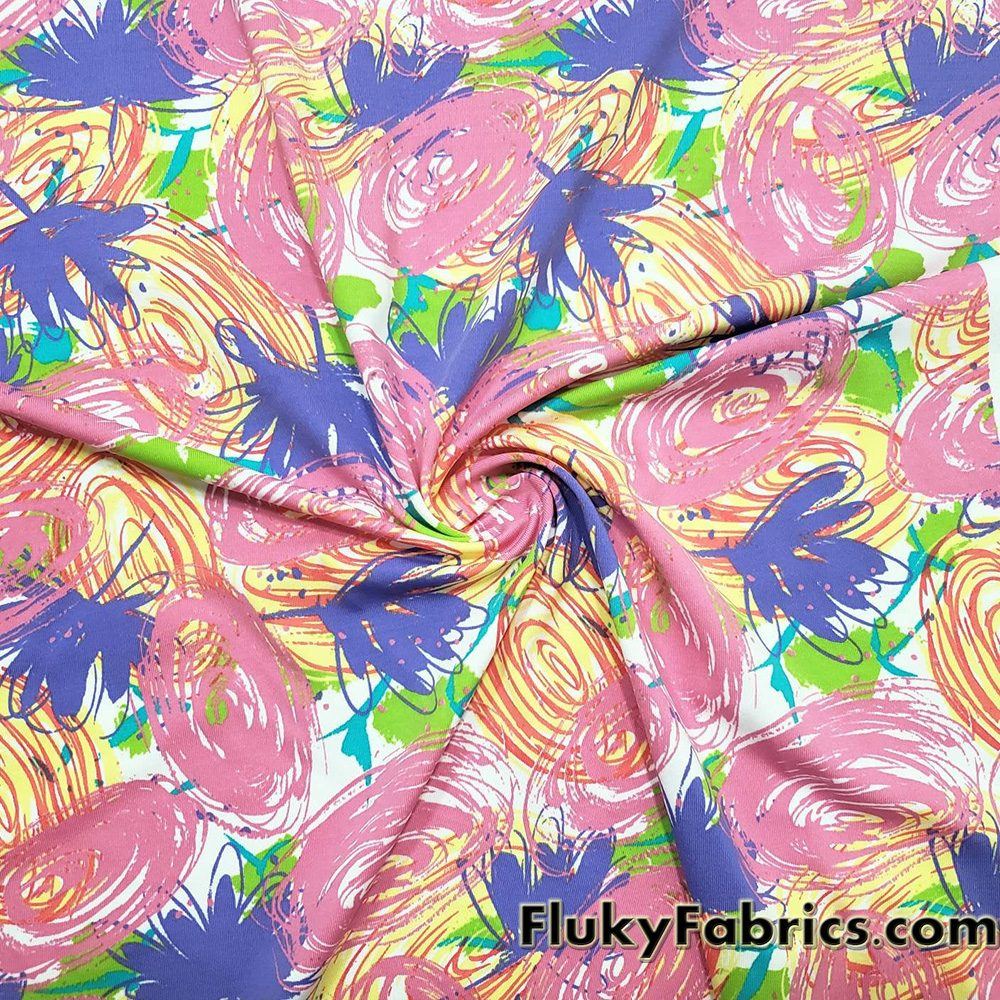 Colorful Doodles Print Single Spandex Fabric  Fabric