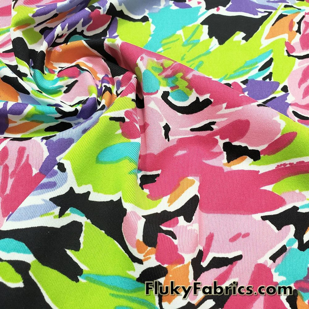 Abstract Flowers and Petals Print Swimwear Poly Spandex Fabric  Fabric