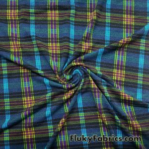 Plaid Lightweight Brushed Rayon Spandex Jersey Fabric in Winter Colors