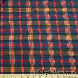 Plaid Lightweight Brushed Rayon Spandex Jersey Fabric in Autumn Colors