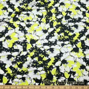 Gray and Lime Green Abstract Flowers Swimsuit Fabric