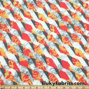 Abstract Lava Triangles and Polka Dots Print Nylon Spandex Swimsuit Fabric