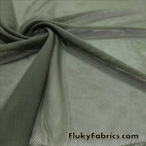 Olive Solid Power Mesh Nylon Spandex Fabric