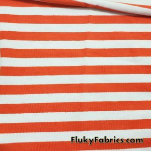 Orange and White Yarn Dyed Stripe 4 Way Stretch Cotton Lycra Fabric