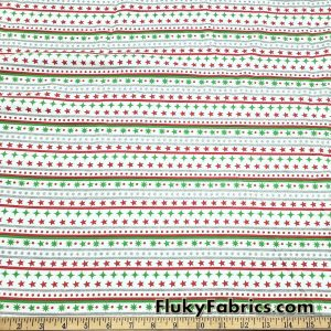 Festive Christmas Stripes with Silver Lurex Cotton Jersey Knit Fabric