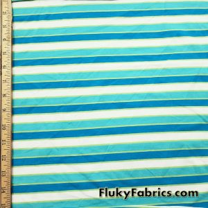 Aqua, Turquoise, Lime and White Yarn Dyed Stripe Cotton Jersey Lycra