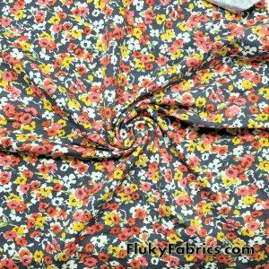 Wild Flowers on Dark Gray Print Lightweight Cotton Lycra Fabric