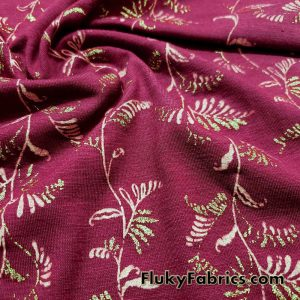 Pink Vines with Gold Lurex Leaves Design On Poly Cotton Jersey Fabric