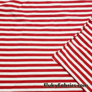 Red and White Yarn Dyed Stripe Cotton Lycra Christmas Stripes Fabric