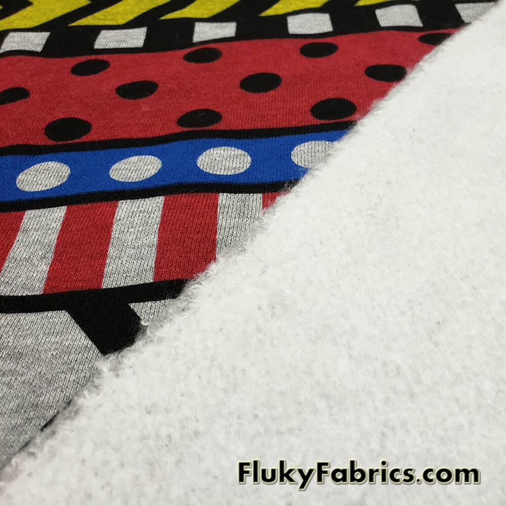 Colorful Geometric Arrows Dots and Stripes Print Poly Cotton Fleece Fabric  Fabric