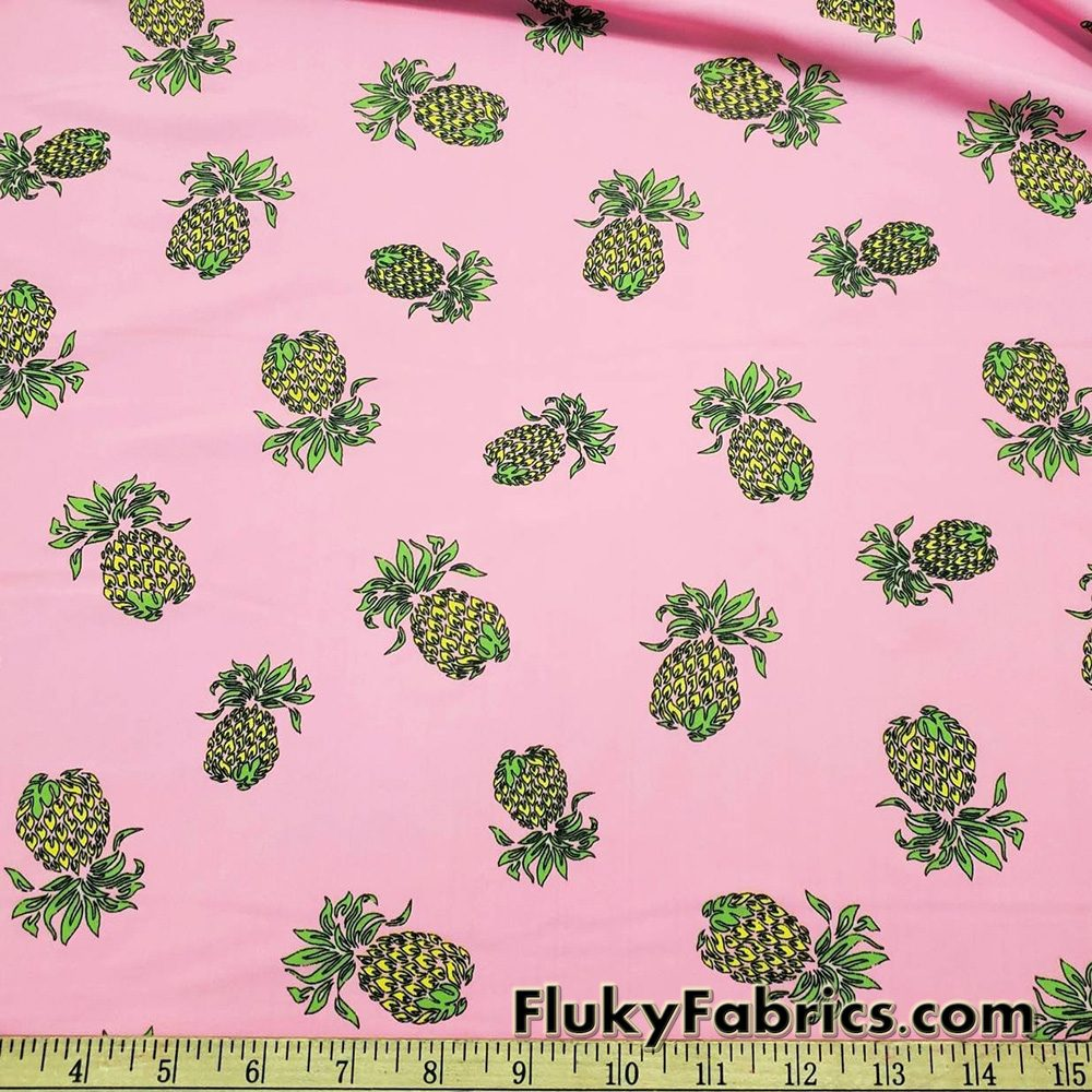 Pineapples on Fire over a Pink Background Nylon Spandex Fabric  Fabric