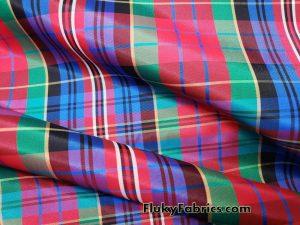 Acetate Yarn Dyed Plaid Taffeta Fabric by the Yard