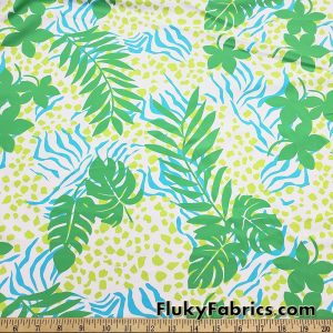 Jade Green Foliage and Lime/Turquoise Animal Style Nylon Spandex Fabric