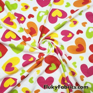 Colorful Scattered Cute Hearts on Hearts Cotton Jersey Apparel Fabric