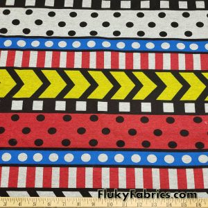 Colorful Geometric Arrows Dots and Stripes Print Poly Cotton Fleece Fabric