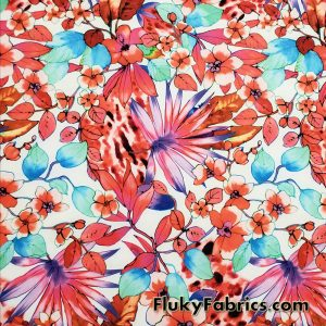 Colorful Paradise Flowers Over a White Background Nylon Spandex Fabric