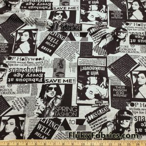 Newspaper on Heather Gray and Black Fashion Print Cotton Jersey Lycra Fabric