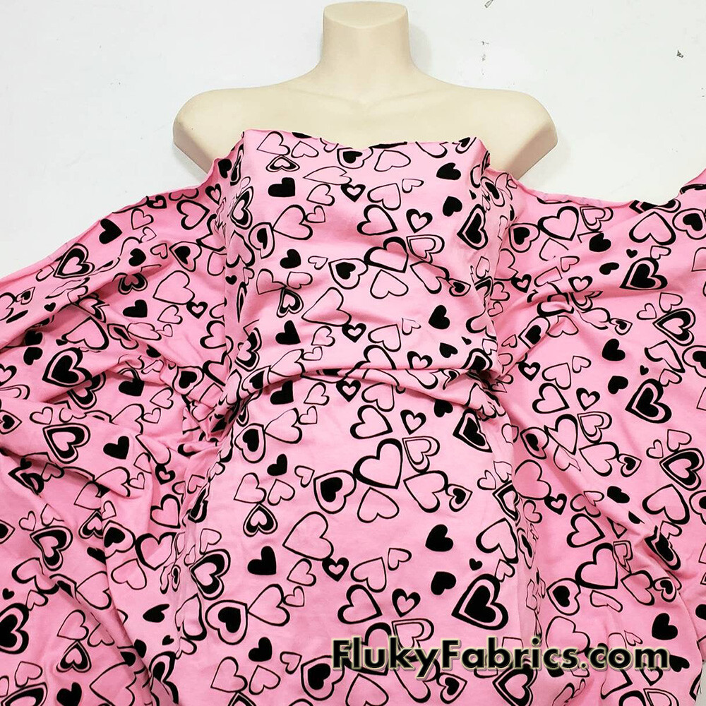 Scattered Black Outline Hearts on Pink Cotton Lycra Fabric  Fabric