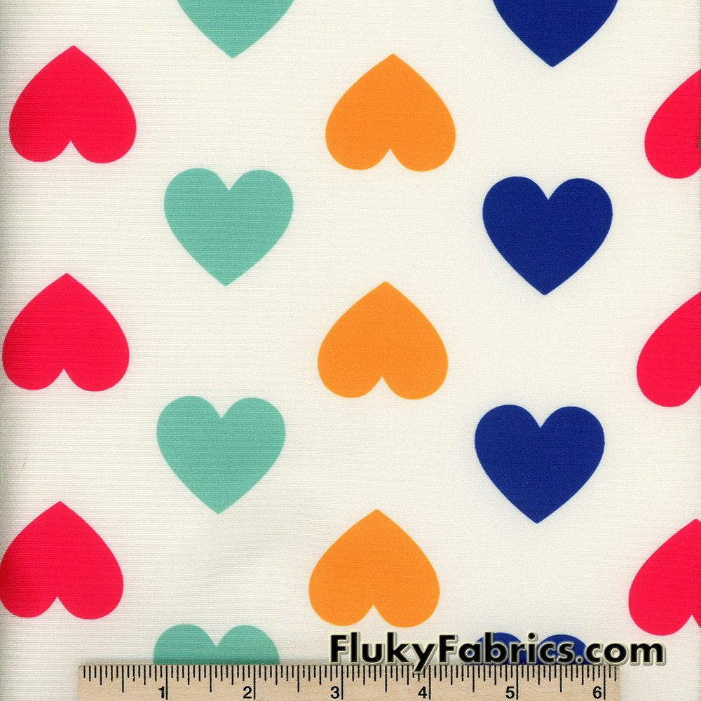 Colorful Hearts on Ivory Nylon Spandex Swimsuit Fabric  Fabric