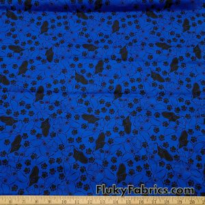 French Bulldog Faces and Paws on Royal Blue Cotton Stretch Poplin Woven