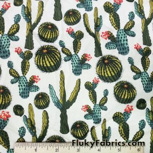 Cactus and Flowers on Ivory Desert Plants Cotton Stretch Poplin Fabric