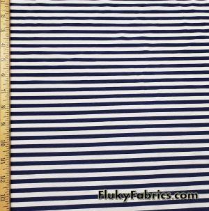 Dark Navy and White Stripes Nylon Spandex Swimwear Fabric