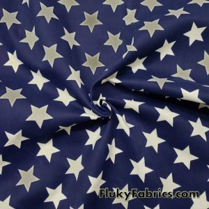 White Stars on Navy Background Cotton Twill Fabric