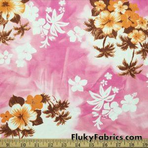 Hawaiian Print on Pink Tie Dye Nylon Spandex Swimsuit Fabric