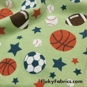 Sports Balls and Stars on Green Cotton Rib Fabric