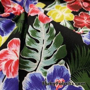 Hibiscus and Tropical Plants Print Cotton Stretch Twill Fabric