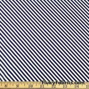 Dark Navy and White Diagonal Mini Stripes Nylon Spandex Swimwear Fabric