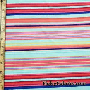 Multicolor Summer Stripes Nylon Spandex Swimwear Fabric