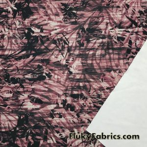 Reddish Brown and Black Double Exposure Foliage Print Nylon Spandex Fabric