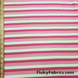 Pink, Lime and White Yarn Dyed Stripes Cotton Jersey Lycra Fabric