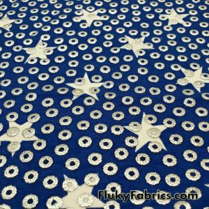 White Stars on Navy with Silver Foil Circles Apparel Cotton Lycra Fabric