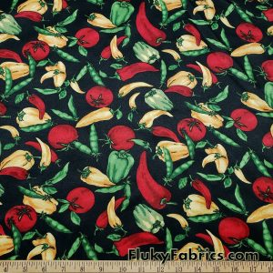 Chilis, Tomatoes, Legumes and Peppers on Black Woven Fabric