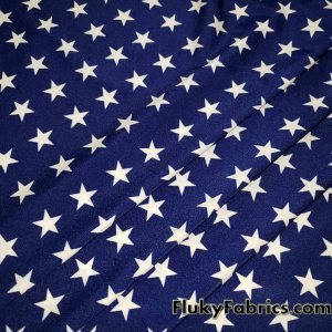 White Patriotic Stars on Shiny Navy Nylon Spandex swimsuit Fabric