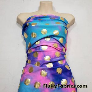 Tie Dye with Gold Dots Swimsuit Nylon Spandex Fabric