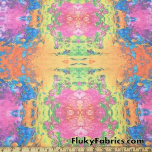 Dreamy Psychedelic Abstract Tie Dye Print Swimsuit Nylon Spandex  Fabric