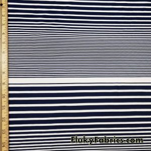 Navy and White Thin and Wide Stripes Nylon Spandex Swimwear Fabric