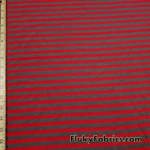 Red and Dark Gray Stripes Cotton Lycra Fabric