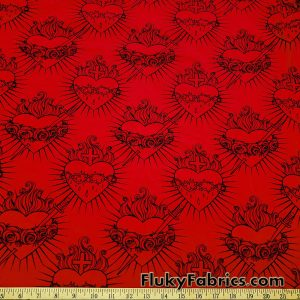 Hearts, Roses, Thorns, Crosses, Flames Print on Red Cotton Lycra Fabric