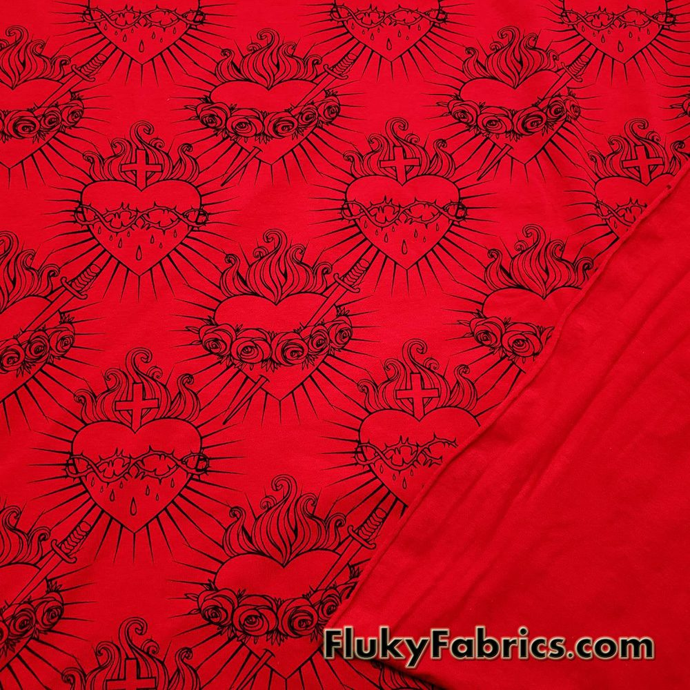 Hearts, Roses, Thorns, Crosses, Flames Print on Red Cotton Lycra Fabric  Fabric