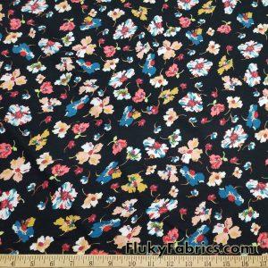 Colorful Wild Flowers Print on Black Lightweight Cotton Spandex Jersey Fabric