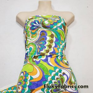 Colorful Abstract Peacocks Print Swimsuit Nylon Spandex Fabric