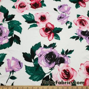 Big Roses on Off White Cotton Spandex Fabric